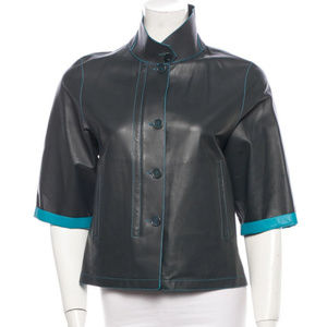 Loro Piana Two Tone Leather Jacket Size 38